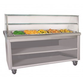 Buffet chauffant inox 4 bacs Gastro 1/1 + Placard neutre ouvert HGH2-TG